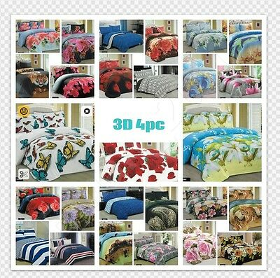 3D Effect 4Pcs Bedding Complete Set - Quilt Cover,Fitted Sheet & Pillowcases_UK