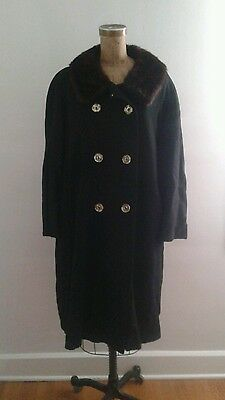Vintage 1950's Black Wool Coat w Mink Fur Collar Double Breasted Glimmer Buttons