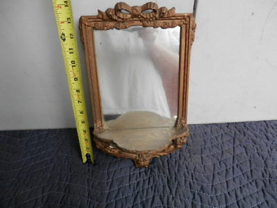 Antique Wooden Gold Gild Hanging Mirror With Shelf Small
