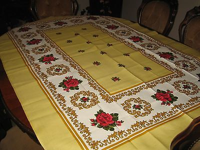 Beautiful Vintage Floral Tablecloth Cover Yellow And Gold With Dark Pink Roses