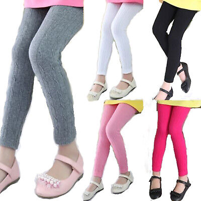 Girls Kids Winter Warm Thick Leggings Lined Stretch Cotton Trousers Pants 3-11Y