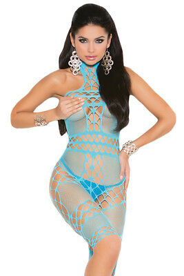 QUALITY Fishnet Halter Neck Bodystocking in Turquoise ONE SIZE UP TO 12