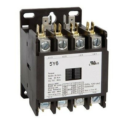 4 Pole 40 AMP 120V CONTACTOR Definite Purpose Heat Pump Refrigeration 50A 40A AC
