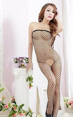 Catsuit Negligee Netz Body Stocking Damen Lingerie Nylon Schwarz S-XL