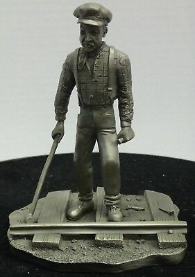 Franklin Mint Pewter Figure: THE RAILROADMAN Caldwell 1977, 4 Inches Tall