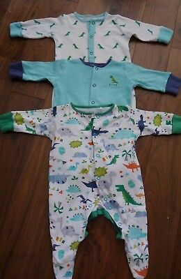 Next Boys Dinosaur Sleepsuits Baby Grows 0-3 Months