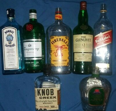 🍾7 Empty Alcohol Bottles- Glass- Bar collectables- Great for Crafts or Display
