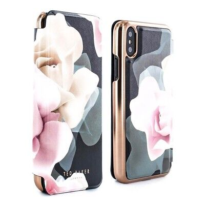 OFFICIAL Ted Baker KNOWIT Mirror Folio Case iPhone X / XS Porcelain Rose Black