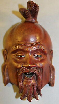 """Antique Superb Detail Hand Carved Wooden Immortal Mask Glass Eyes Teeth 5"""" Long"""