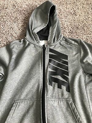 Nike Dri-fit Black & Gray Boys Zip Up Hoodie Size YOUTH LARGE