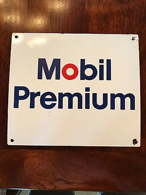 Vintage Mobil Premium Gas Porcelain Sign Pump Plate