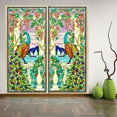 2pcs Peacock Stained Glass Window Film Static Privacy Films Cling Cover Decor #3
