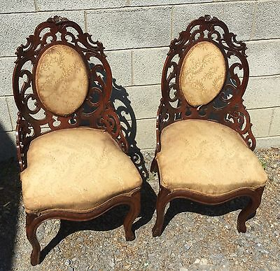 Pair Of Rosewood Pierced Carved Chairs