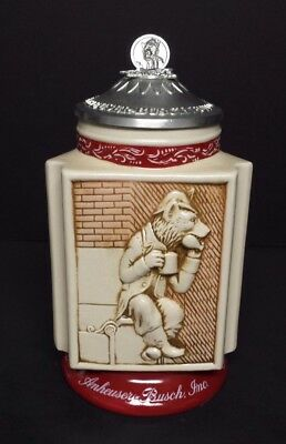 2002 AB Budweiser St Louis Brewery Icons lidded stein  Bevo Fox on Front  CS521