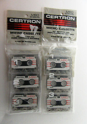 Micro Cassettes For Dictation and Phone Answering Machines Certron Lot of 6 NEW