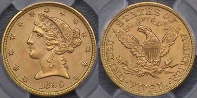 United States of America, 1899 Five Dollars or Half Eagle - PCGS MS64