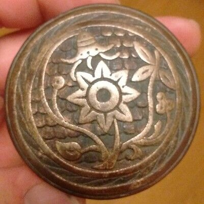 "Antique Eastlake Ornate Bronze Victorian Door knob by Norwalk c1885 ""Bluebell"""