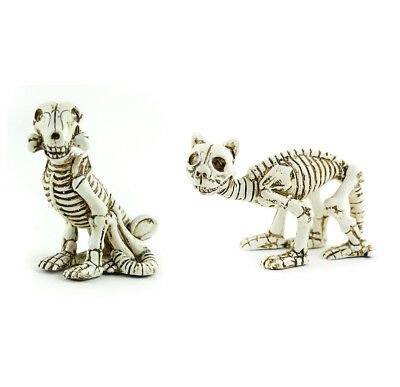Fairy Garden Halloween Miniature - Skeleton Cat and Dog