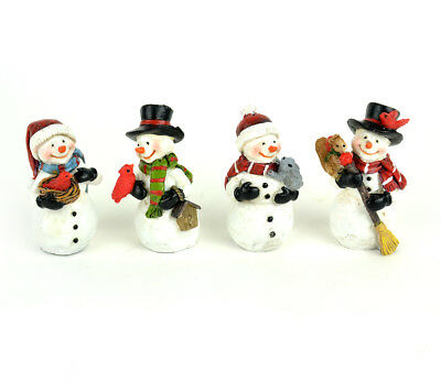 Fairy Garden Christmas Miniature - Snowmen With Critters - Set of 4