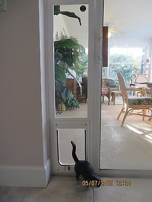 CAT pet door white Vinyl vertical glass Window 24-28 high with locking 7x7 flap