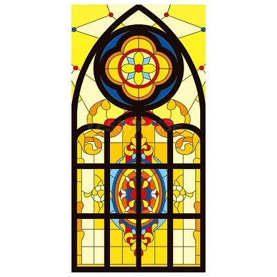 #1 Church Stained Glass Window Film Static Privacy Films Cling Cover Decor