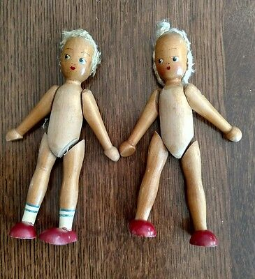 Vintage Jointed Hand painted German Wooden Dolls