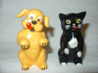 Collectable Dog and Black Cat salt and pepper shakers by F & F