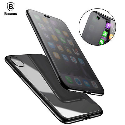 Baseus Touchable Phone Case For iPhone X Tempered Glass TPU Back Cover Case