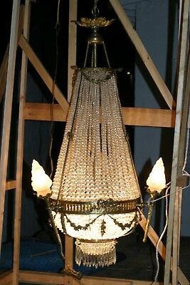 Antique  French Large Gilded Bronze & Crystal Chandelier,  ,stunning, Circa 1880
