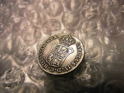 "Spain 1789 Crowned ""m"" Silver Real Aunc Medal/coin"