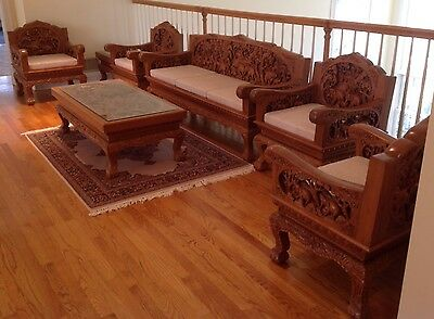 Antique Thai Hand Carved Teak Furniture - 8 Piece Set