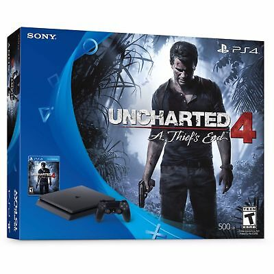 PlayStation 4 Slim 500GB Uncharted 4 Bundle, Black, A Thiefs End FACTORY SEALED