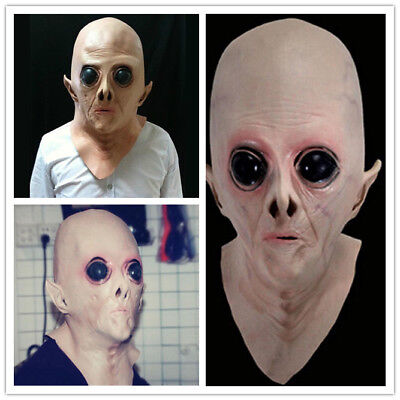 Halloween Horror Cosplay Adult Alien UFO ET Full Head Latex Mask for Party