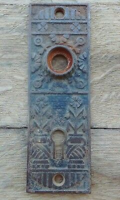 Antique Vintage Eastlake Victorian Door Back Plate - Ornate Fancy Design - Cast