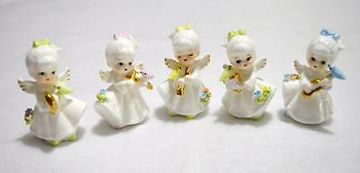 Vintage Set of 5 Bone China Angels With Musical Instruments~Excellent Condition