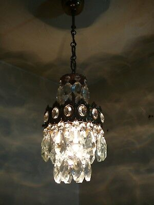 Vintage Brass & Crystal  Old Small Basket Chandelier