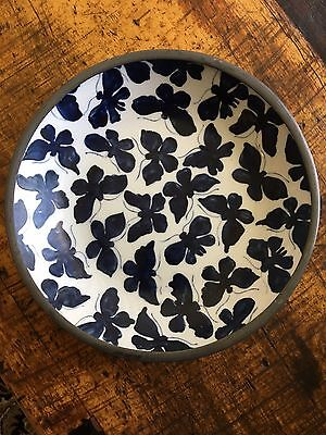 Chinese Porcelain & Pewter Bowl Made In Hong Kong For Neiman Marcus Hand Painted