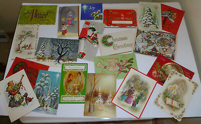 Vintage Christmas Cards - Lot Of 190- Used- Great For Scrapbooks (C)
