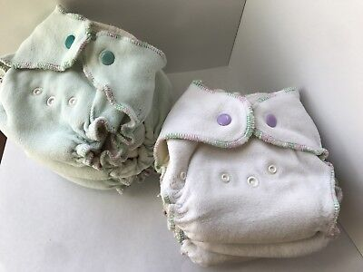 6 Fitted Cloth Diapers Size Newborn/small bamboo micro fleece
