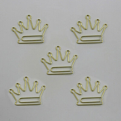5x Crown Metal Bookmarks Paper Clips Office School Stationery Clips Kids Gifts #