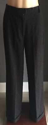 Vintage Charcoal Grey Wool LAURA ASHLEY Wide Leg Cuffed Pants Size 8