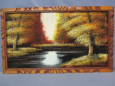 Vintage Wall Decor - Black Velvet Fall Landscape Painting Stamped Mexico