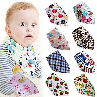 3PCS Cotton Baby Boy Girls Bandana Bibs Saliva Towel Dribble Triangle Head Scarf