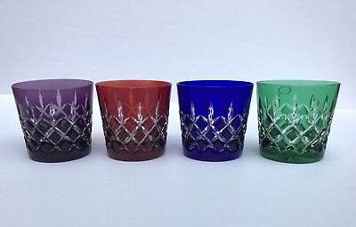 Vintage Hungarian Bohemian Cut Crystal Multi Faceted Ajka Whisky Water Glass Set