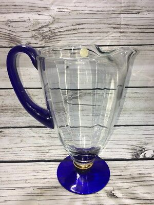 Collectible Cobalt Blue Crystal Art Glass, Pitcher, Gold, Handcrafted in Romania