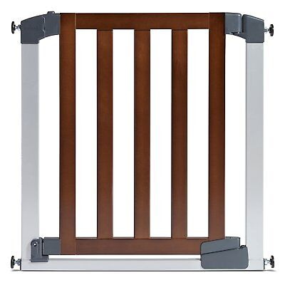 Munchkin Auto Close Designer Baby Gate, Dark Wood/Silver