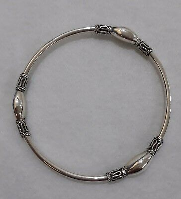 Genuine 100% Real 925 Sterling Silver Handcrafted Bangle Bali Style  New 1D882A