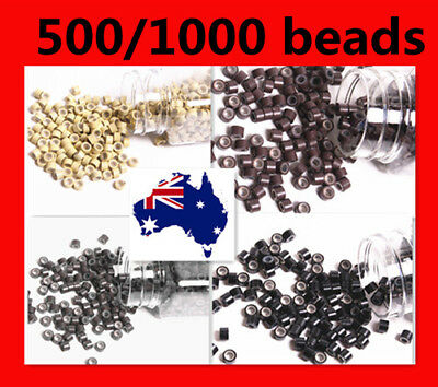500/1000 Silicone Lined Micro Link Micro Rings Beads For I Tip Hair Extensions