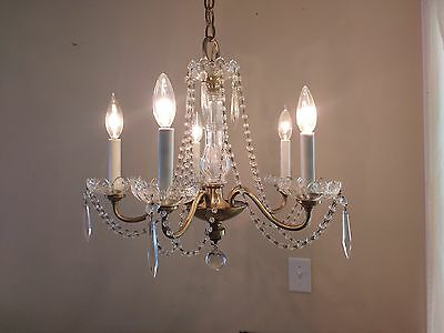 Rare Beaded Antique 5 arm 5 lite Decorative Glass Chandelier glass candle cups