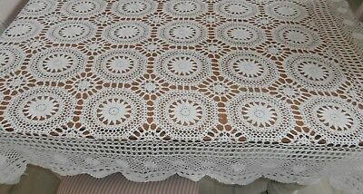 White Vintage Hand Crochet Tablecloth. 155 X 110Cm. Gvc. Vic.